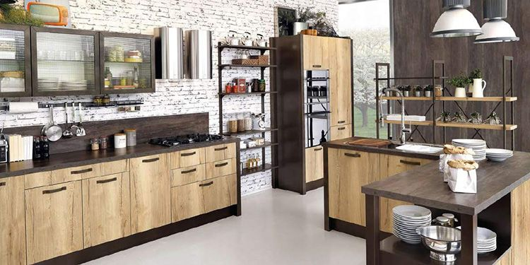 Мебель кухни в стиле «лофт» отличается такой же простотой, как и отделка помещения
