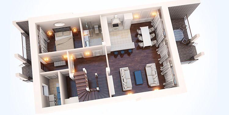 3D визуализация первого этажа таунхауса площадью 209 м2