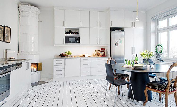 Выбеленные полы в кухне «скандинавка»