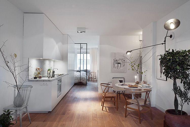 Матовые натяжные потолки в скандинавской кухне