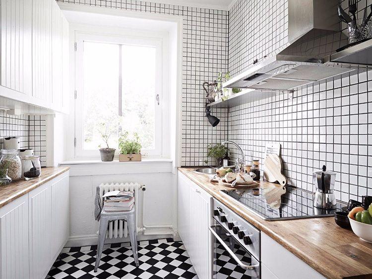 Маленькая настенная плитка для кухни в скандинавском стиле