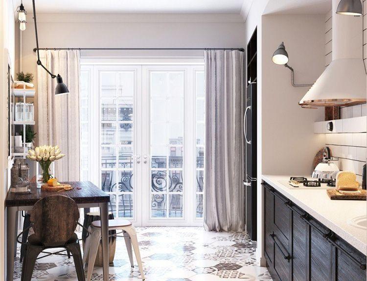 Большое окно-дверь в кухне в скандинавском стиле 10 м²