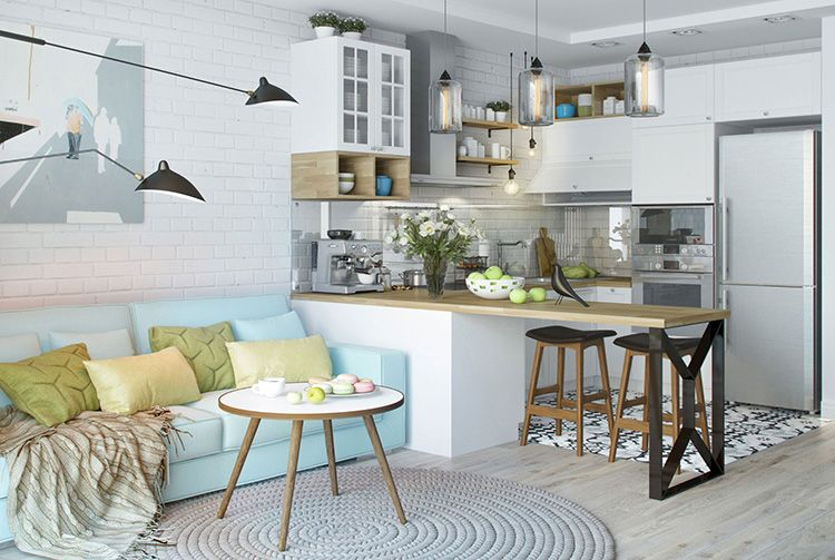 Фото интерьера кухни-гостиной в скандинавском стиле в квартире-студии