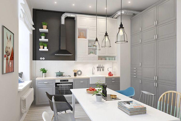 Хороший вариант для кухни-столовой в скандинавском стиле – несколько ламп над столом