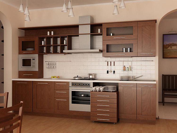 Прямой кухонный гарнитур с выкатной системой хранения