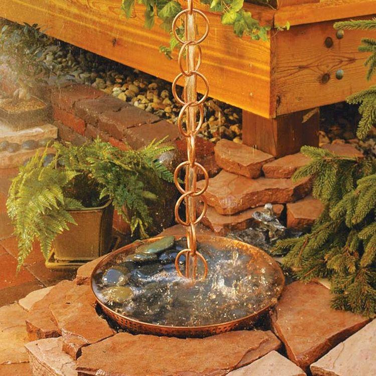 Водосток из цепей красивый и практичный