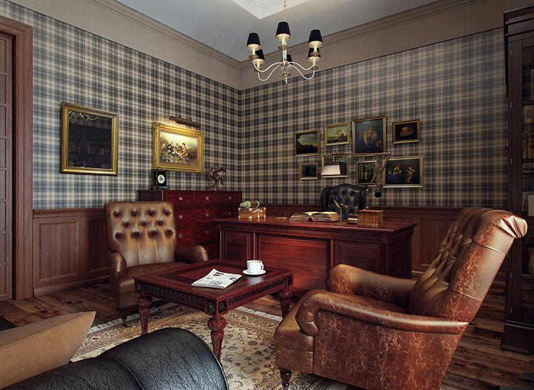 Классическая отделка стен – деревянные панели и «шотландские» обои в интерьере в английском стиле