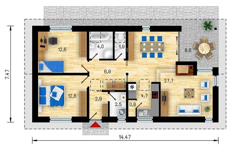 Проект небольшого одноэтажного дома из бревна для большой семьи
