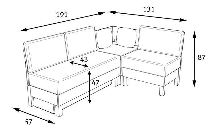 Схематичный рисунок с основными размерами, которые стоит учитывать перед покупкой углового дивана на кухню