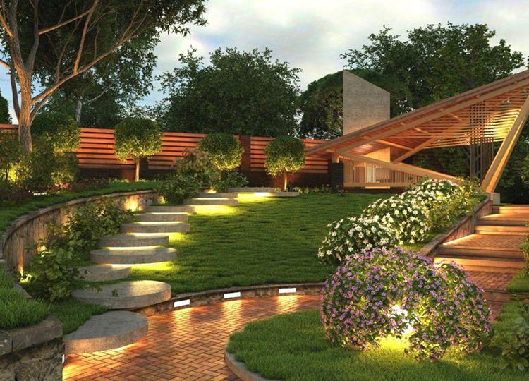 Вы считаете, что двор не может быть освещённым? Ошибаетесь, интересная подсветка каменных ступеней точно приведёт в восторг приходящих гостей