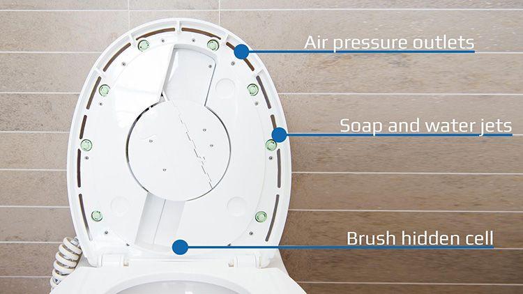 Внутреннее устройство крышки: сопла для воды, воздуха и подачи воды
