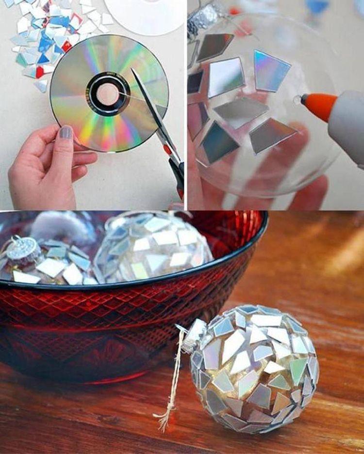 Ребенку можно поручить оформление вот такого новогоднего шарика для дискотеки.