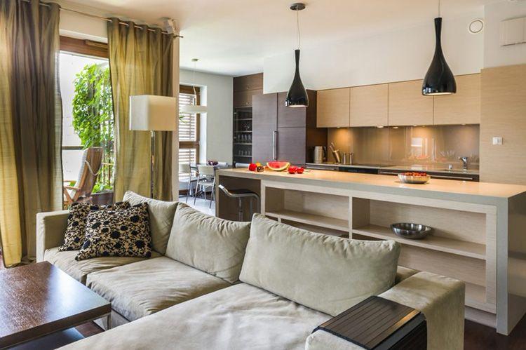 Очень часто диваны на кухне используют как дополнительный способ отделить зоны или организовать пространство