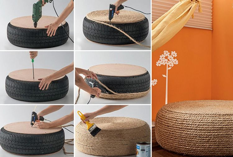 Последовательность изготовления журнального столика из шины. С помощью нескольких таких болванок можно создать столик необходимой высоты