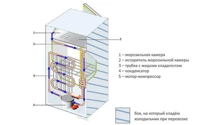 Схема устройства и рекомендации для правильной перевозки холодильника на боку