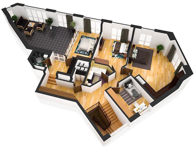 FloorPlan3D позволяет создавать трехмерные проекты зданий, при этом, что очень удобно, среда может подсчитать расход материалов.
