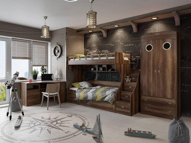 В такой комнате юный матрос едва ли будет отлынивать от домашних забот. Обстановка «на корабле» располагает к дисциплине!