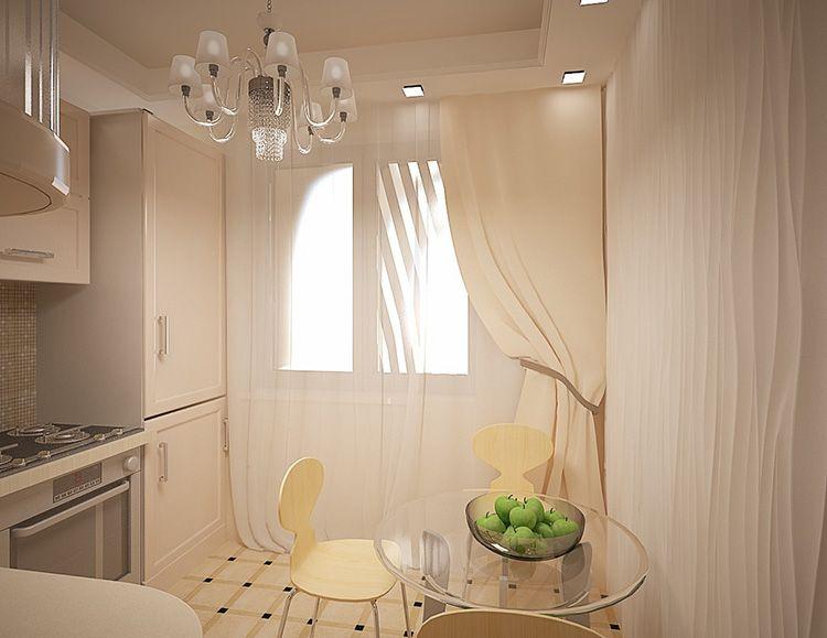 Маленькая кухня в пастельных тонах