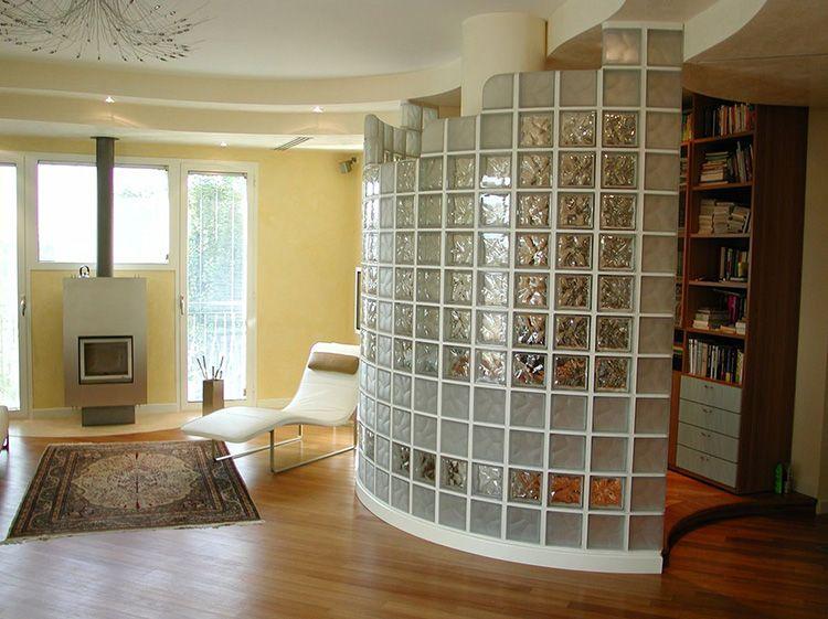 Зонирующая стеклоблочная конструкция