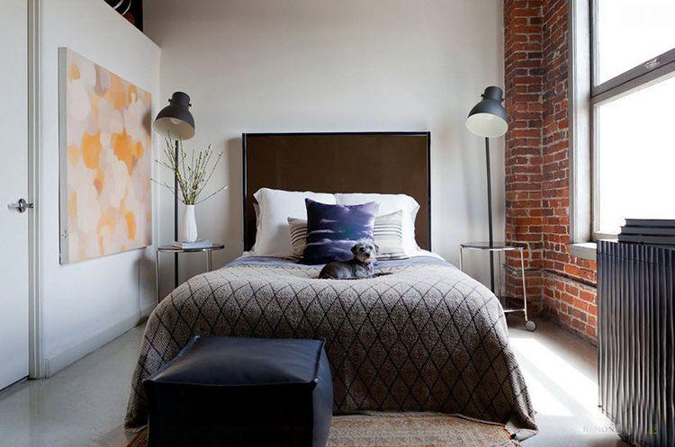 Прикроватные светильники в спальне стиля лофт