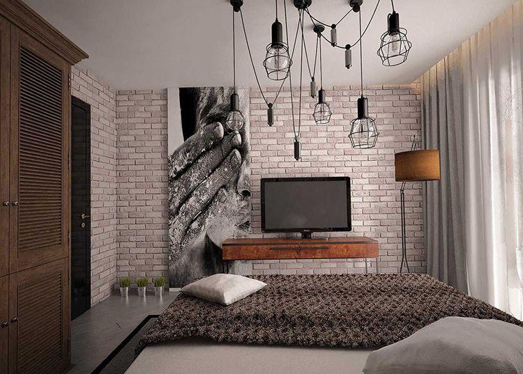 Подвесные потолочные светильники в стиле лофт в спальне