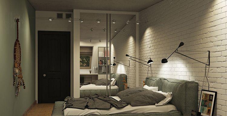 Прикроватные настенные светильники стиля лофт в спальне