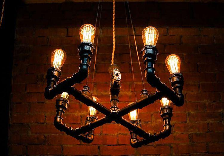 Светильник из труб в стиле лофт