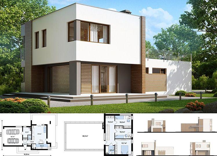 Проект двухэтажного коттеджа в стиле хай-тек