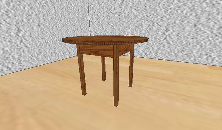 3-D визуализация круглого стола из дерева