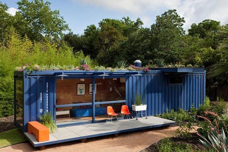 Проект дачного домика из одного 40 футового контейнера