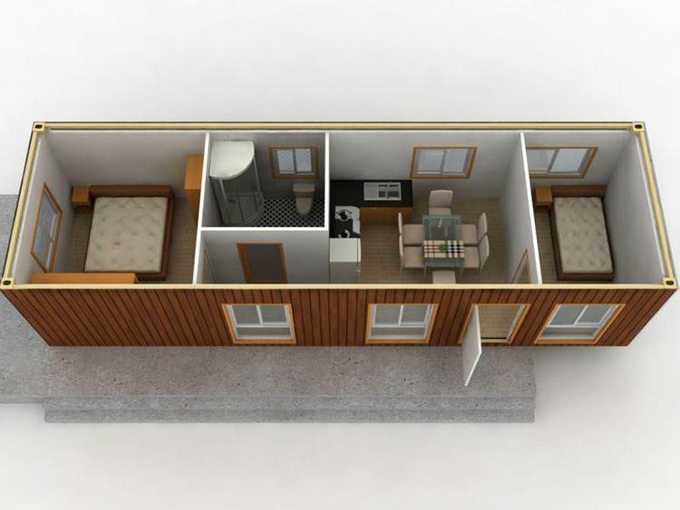 Вариант планировки дома, изготовленного на базе 40 футового контейнера