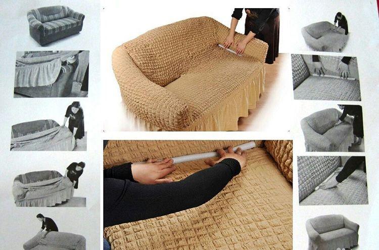 Ткань настолько эластичная, что сложностей весь процесс вызвать не должен. Для крепежа используются крючки и молнии.