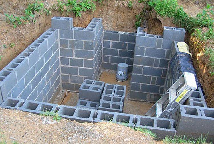 Стены заглубленного овощехранилища, изготовленные из бетона, кирпича или блоков, могут служить фундаментом легкой постройки, возводимой над погребом