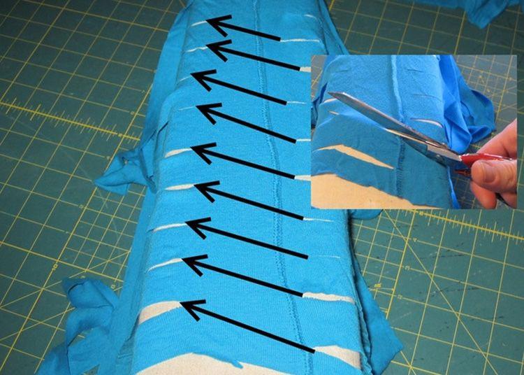 Технология нарезания лент из футболочной материи.