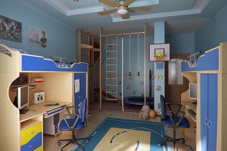 В такой комнате для двойняшек не только организованы стальные и рабочие зоны, но и пространство для спортивных игр.