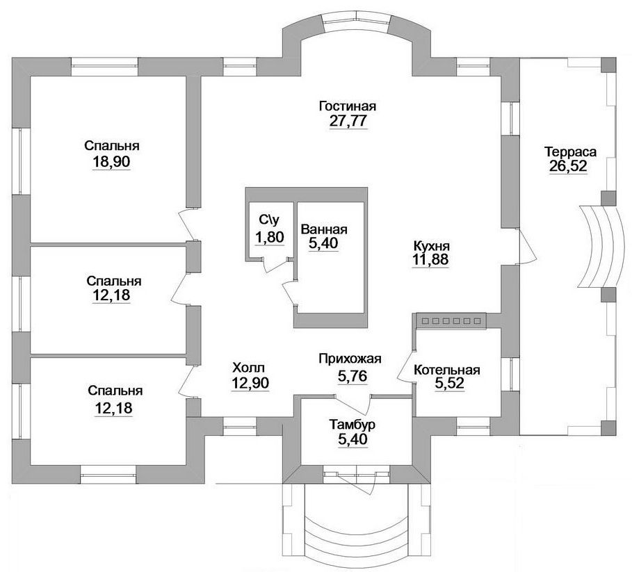 Есть в такой планировке свой нюанс – супружеская спальня находится слишком близко к детским комнатам, а это не самый лучший вариант