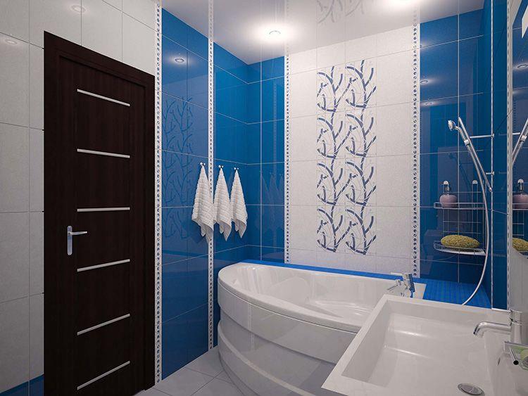 Ванная комната в синем цвете выглядит достаточно красиво