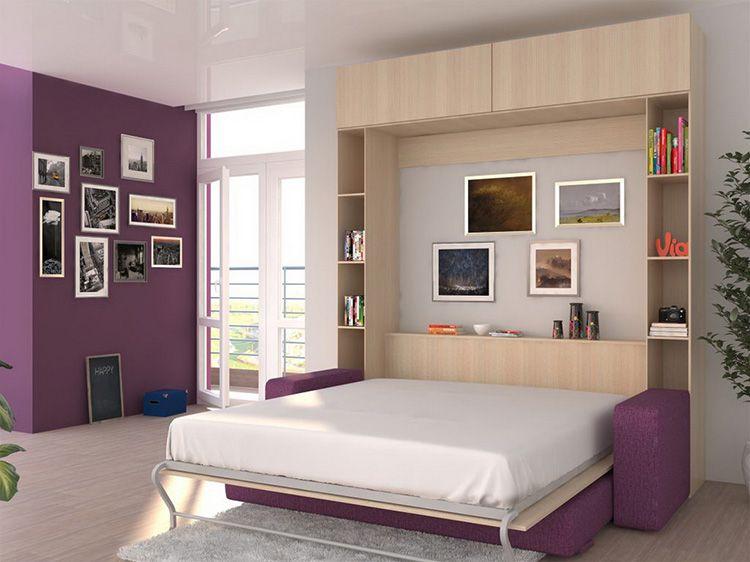 Встроенная кровать в шкаф с диваном