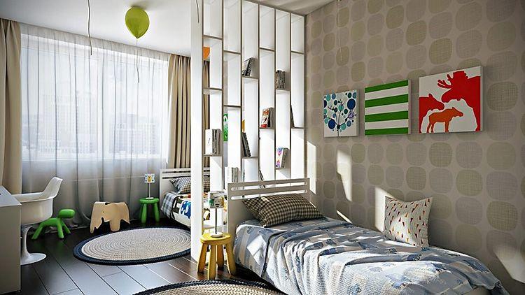 Спальная зона с кроватями, разделенными перегородкой