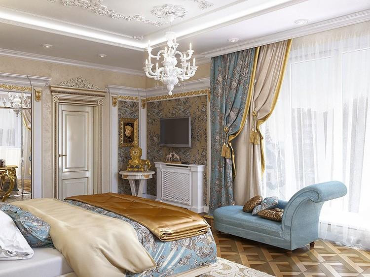 Гардины для спальни в классическом стиле