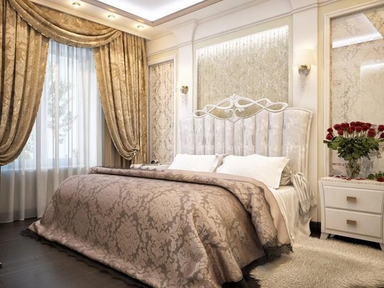 Классические шторы должны гармонировать с окружающей обстановкой в спальне
