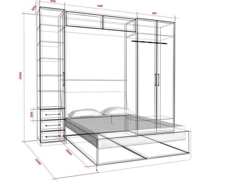 габариты шкафа-трансформера с откидной кроватью