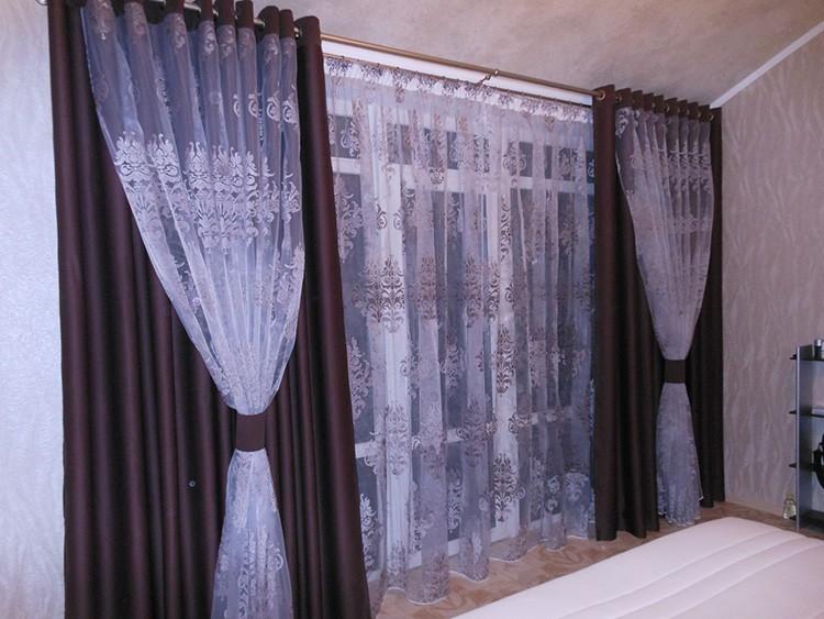 Фото красивых штор на люверсах в спальне