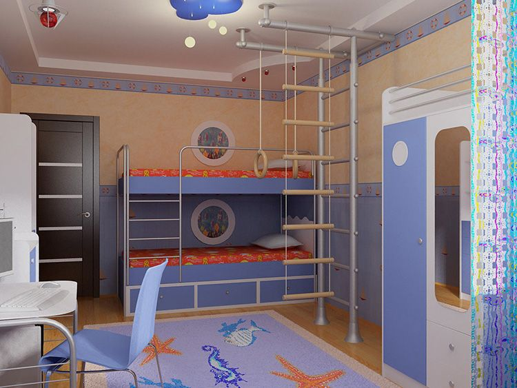 Шведская стенка и веревочная лестница в детской комнате
