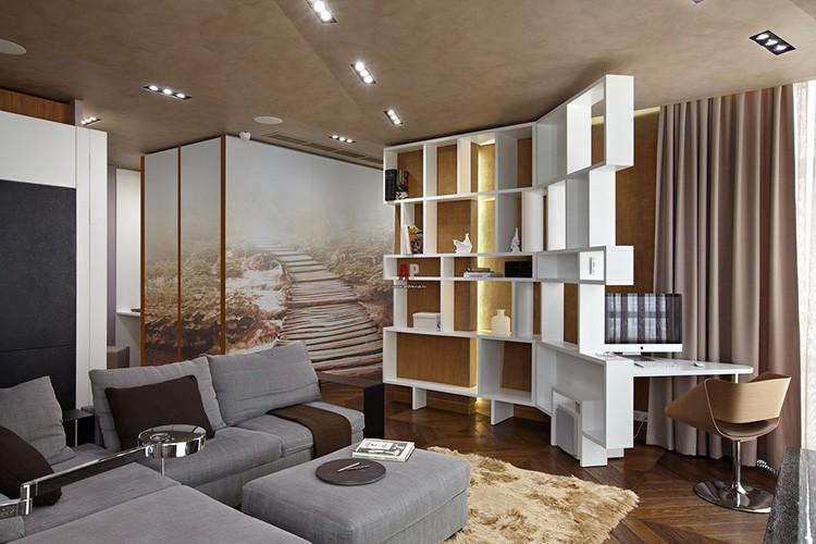 Функциональные стеллажи для книг в интерьере гостиной и рабочего кабинета