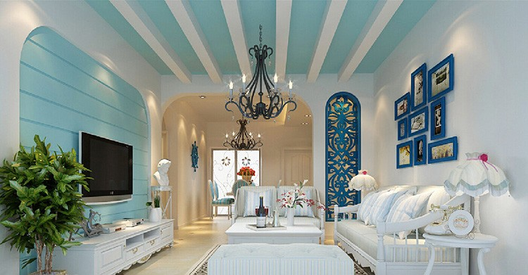Современный интерьер в средиземноморском стиле в загородном доме