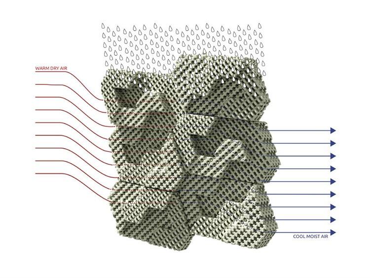 В этой конструкции происходит так называемое пассивное охлаждение за счёт прохождения сквозь неё воздуха и испарения влаги