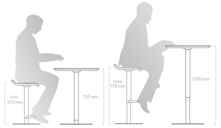 Под барную стойку необходимо подбирать стулья или табуреты соответствующей высоты
