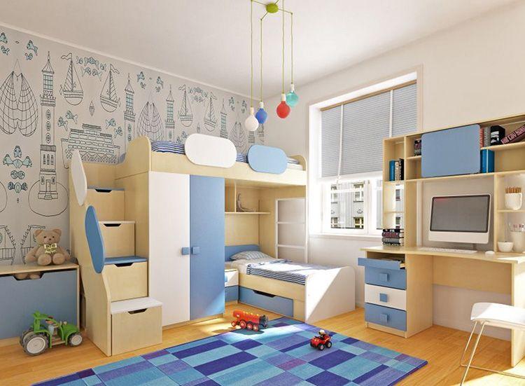 Система хранения в лестнице на второй ярус кровати