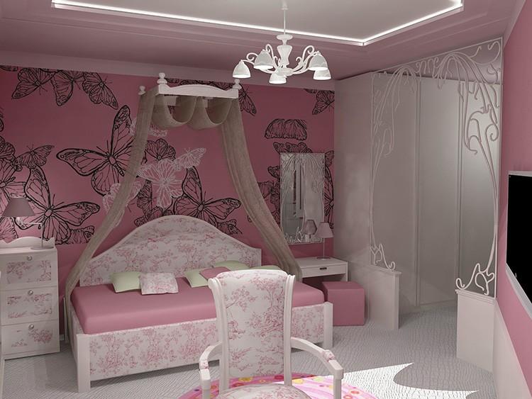 Серо-розовая гамма подойдёт для солнечной комнаты